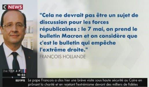 Etes-vous choqué par le fait que François Hollande appelle à voter Emmanuel Macron ?