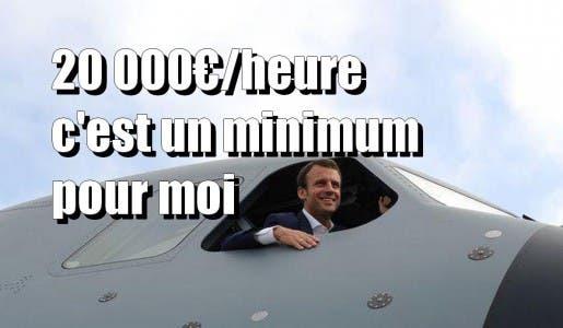 Chaque heure de vol d'avion de Macron coûte 20 000€ par heure, financée par les Français !