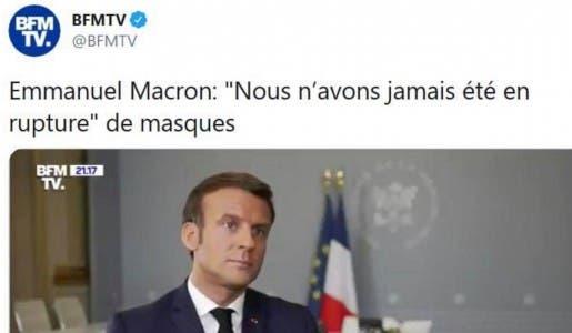 Macron ment aux Français en annonçant qu'il n'y a jamais eu de pénurie de masques !